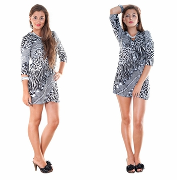Animal Print Black / White Tunic Cover Up with V-Neck and 3/4 Sleeves