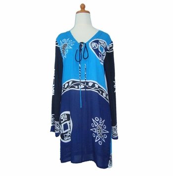 Abstract Tiki Tunic Cover Up in Black/Blues