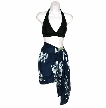 Half Sarong/Mini Sarong Hibiscus Navy Blue / White FRINGELESS