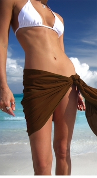 "HALF SARONG / MINI SARONG PAREO ""Brown"""