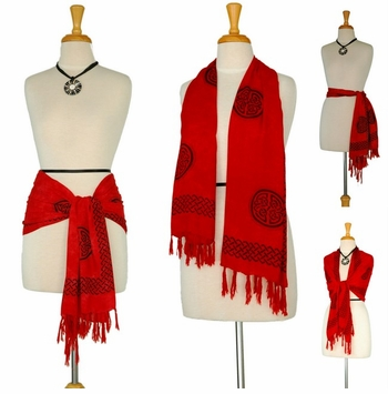 "Celtic Knot Sarong - Scarf ""Red"""