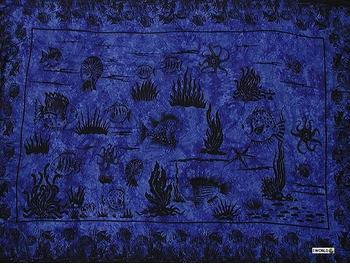 Aquatic Life Mens Sarong in Deep Blue