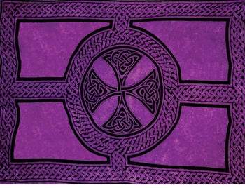 "Celtic Mens Sarong ""Celtic Cross and Circle"" Purple"