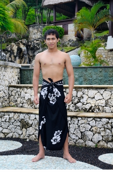 "Hibiscus Mens Sarong ""Black / White"" Fringeless"