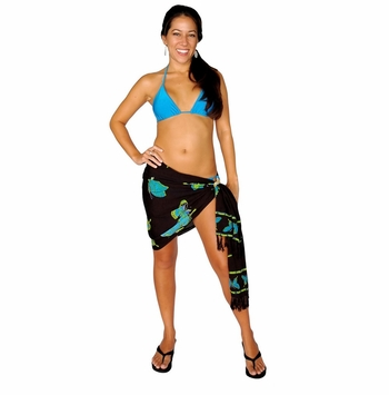 "Half Sarong/Mini Sarong Butterfly ""Blue / Green / Black"""