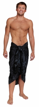 "Embroidered Tie Dye Mens Sarong ""Charcoal"""