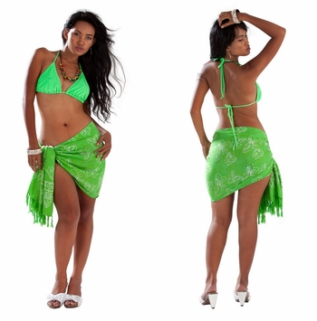 "Butterfly Half Sarong ""Lime Green / White"""