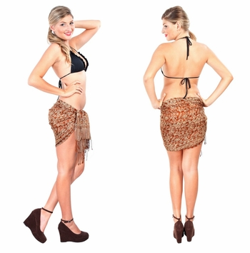 Half Silk Sarong in Brown