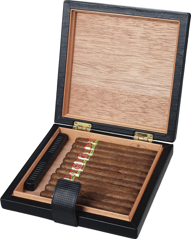Mod  Black Leather Cigar Humidor - Holds 22 Cigars