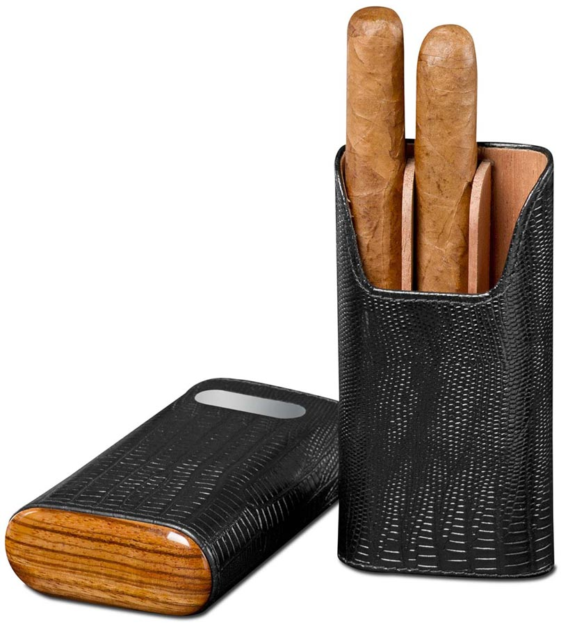 Brizard  Lizard Black Leather Cigar Case with Free Engraving - Made in USA