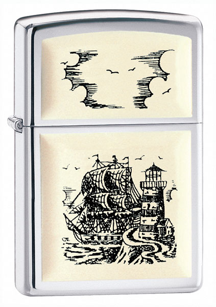 Zippo Scrimshaw Ship Emblem High Polish Chrome Lighter