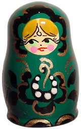 Handpainted Wooden Russian Thimble-Dark Green