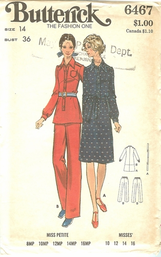 Butterick 6467 Dress,Top & Pants,Bust 36""
