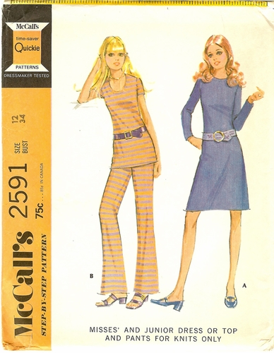 """McCalls 259134 Dress,Top & Pants For Knits,Bust 34"""""""