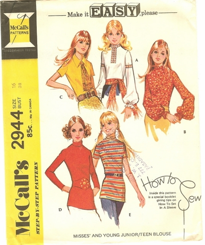 """McCall's 2944 Blouses, Bust 38"""""""