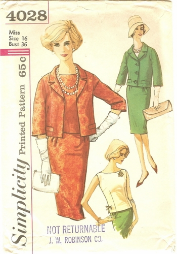 Simplicity 4028 Jacket, Blouse & Skirt, Bust 36""