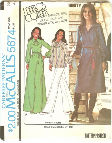 McCall's 5674 Dress Or Top, Bust 43""