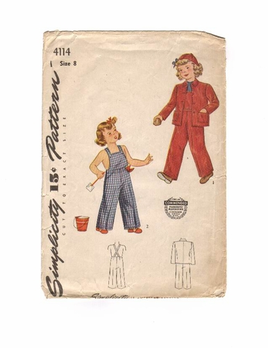 Simplicity 4114 Overalls & Jacket, Bust 26""