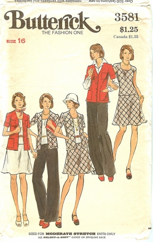 Butterick 3581 Sweaters,Skirt & Pants For Knits,Bust 38""