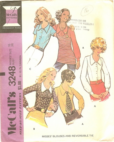 McCall's 3248 Blouses & Reversable Tie, Bust 38""