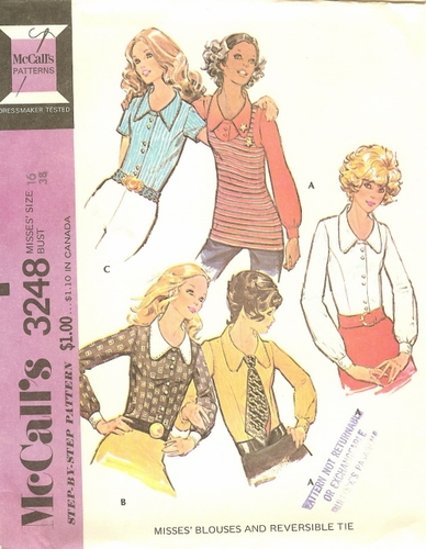 """McCall's 3248 Blouses & Reversible Tie, Bust 38"""""""