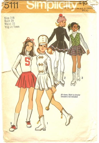 Simplicity 5111 Girl's Skating & Cheerleading Costumes, Bust 29""