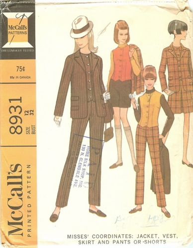 McCall's 8931 Jacket, Vest. Pants, Shorts & Skirt, Bust 32""