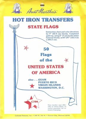 50 State Flags Hot Iron Transfer
