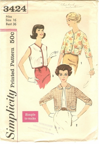 """Simplicity 3424 Jackets, Bust 36"""""""