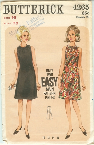 Butterick 4265 Dress,Bust 36""