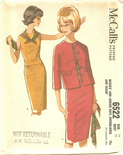 McCall's 6522 Suit & Blouse, Bust 36""