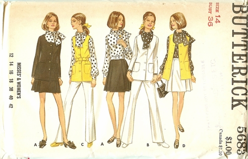 Butterick 5683 Jacket,Shirt,Pants & Blouse,Bust 36""