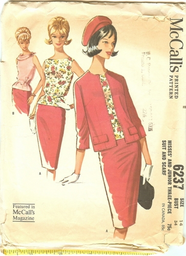 """McCall's 6237 Suit & Scarf, Bust 34"""""""