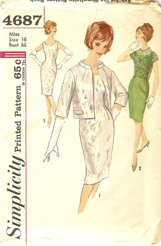 """Simplicity 4687 Dress W/Jacket & Over-Blouse,Bust 36"""""""