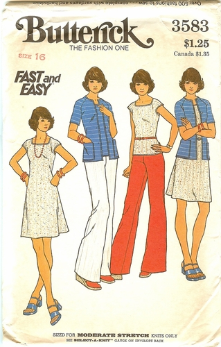 """Butterick 3583 Dress,Sweaters & Pants For Knits,Bust 38"""""""