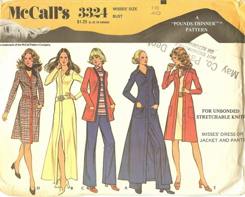 McCall's 3324 Dress Or Jacket, Tunic & Pants, Bust 40""