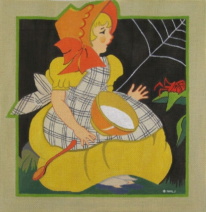 Miss Muffet Hand Painted Needlepoint Canvas