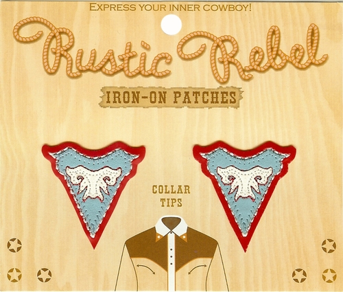 Rustic Rebel Red & Blue Iron-On Collar Tips
