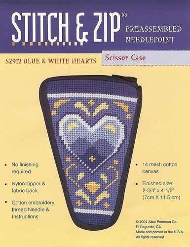 Blue Heart Scissor Case-Preassembled Needlepoint Kit