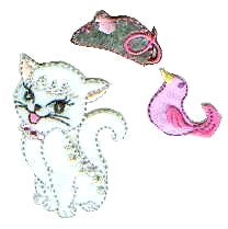 Iron-On Kitty, Bird & Mouse Patch Set