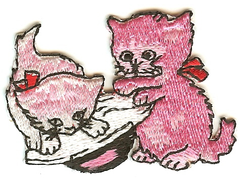 Vintage Pink Cats Patch