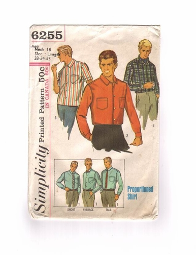 Simplicity 6255  Short/Long Sleeve Shirt, Size Large