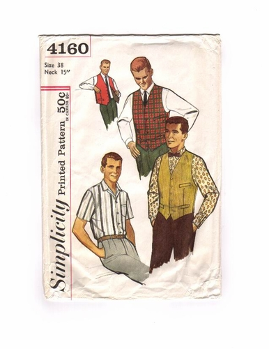 Simplicity 4160 Short/Long Sleeve Shirt & Vest-B, Size Medium