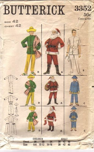 Butterick 3352 Santa/Doctor/China Man/Mexican Man, Chest 42