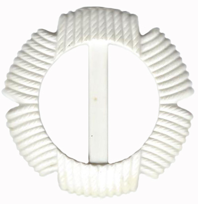 Vintage White Plastic Belt Buckle With Rope Detail