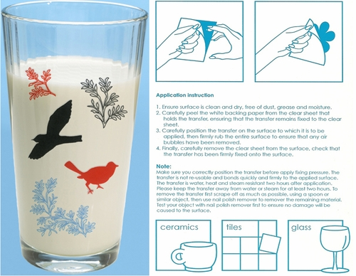 """Birds"" Glassware & Tile Transfers"
