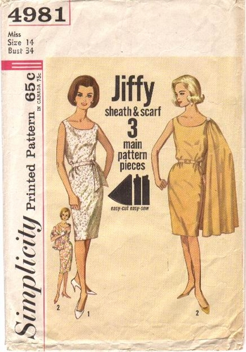 Simplicity 4981 Dress With Scarf, Bust 34""