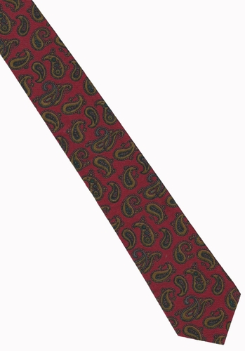 Vintage Red Skinny Tie With Paisley