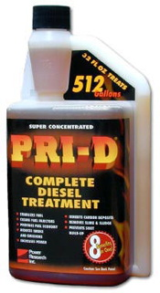 pri-d 32 oz pri-d Diesel fuel treatment treats 512 gallons.