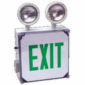 Howard Lighting HL0201B2GW EXIT sign,White Case/Housing,GREEN letters,Battery,.